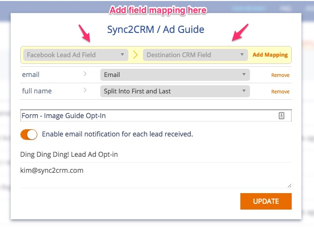 Sync2CRM Facebook Lead Ad Field Mapping