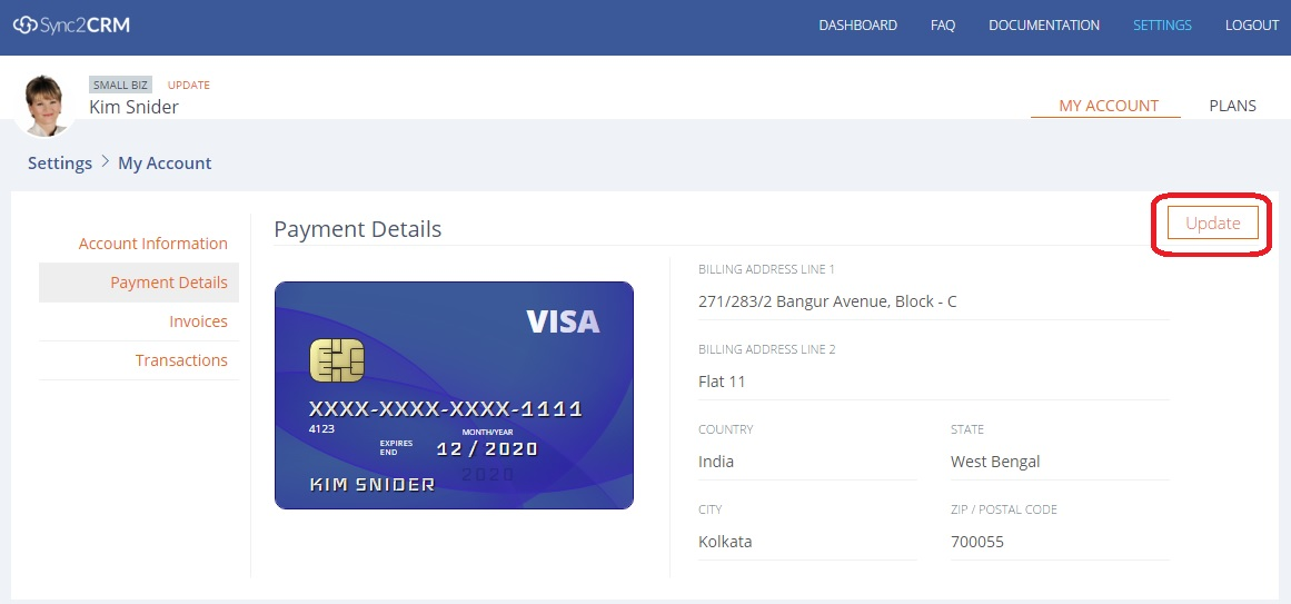 update payment details Sync2CRM
