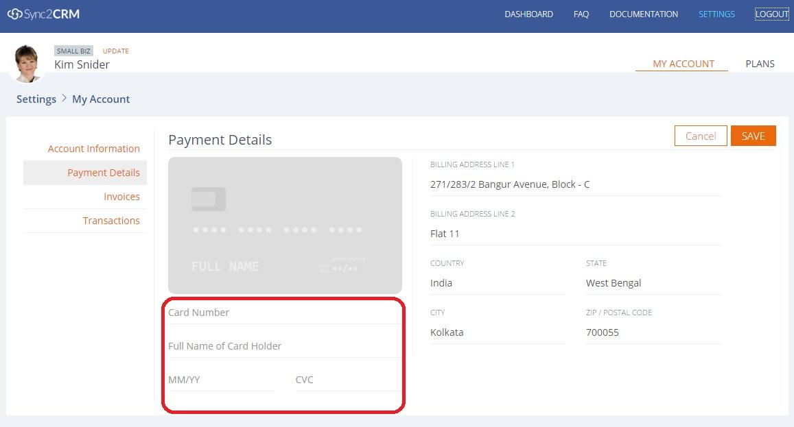 Modify Payment Details