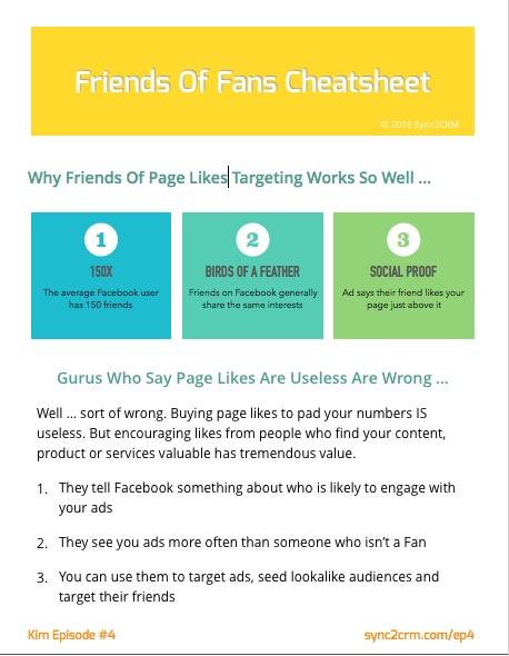 Facebook Ad targeting Friends Of Fans Cheatsheet