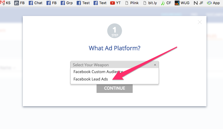 Step 2 - Choose Facebook Lead Ad